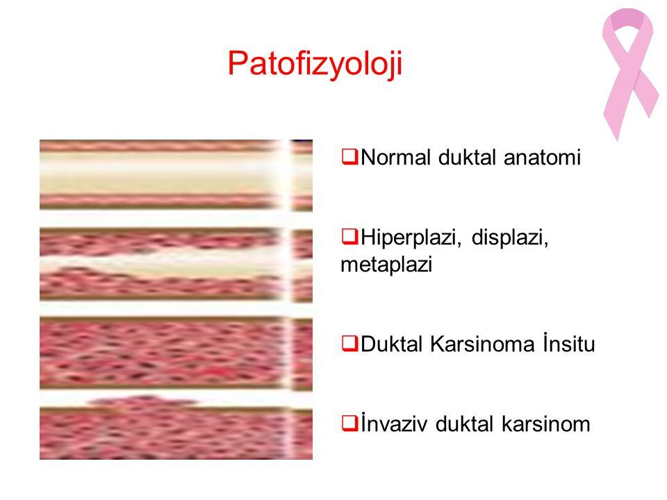Patofizyoloji  Normal duktal anatomi  Hiperplazi, displazi, metaplazi  Duktal Karsinoma İnsitu  İnvaziv duktal karsinom