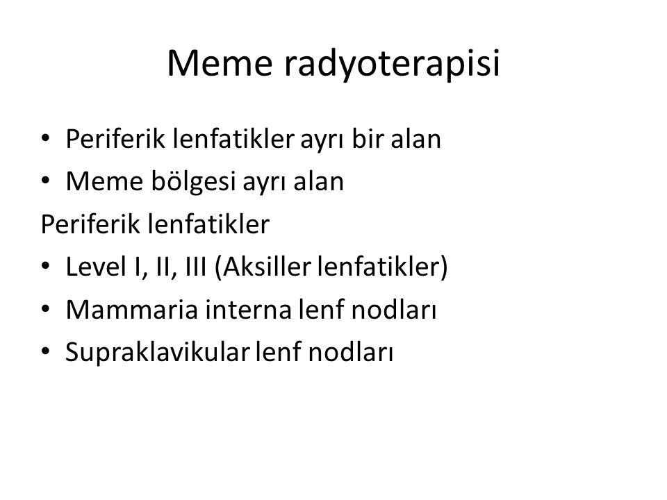 Meme radyoterapisi Periferik lenfatikler ayrı bir alan Meme bölgesi ayrı alan Periferik lenfatikler Level I, II, III (Aksiller lenfatikler) Mammaria i