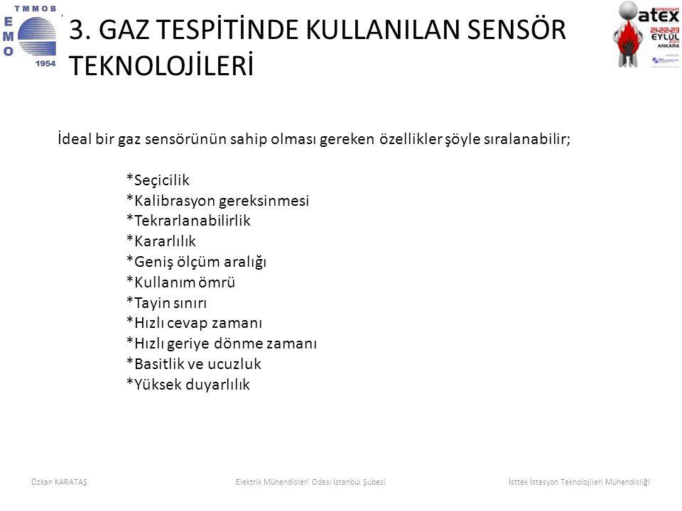 İdeal bir gaz sensörünün sahip olması gereken özellikler şöyle sıralanabilir; *Seçicilik *Kalibrasyon gereksinmesi *Tekrarlanabilirlik *Kararlılık *Ge