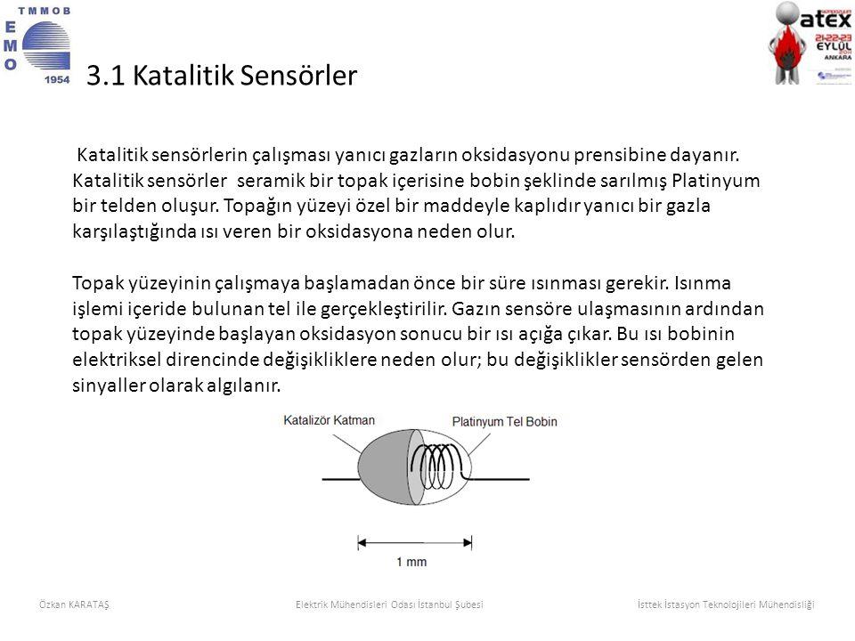 Katalitik sensörlerin çalışması yanıcı gazların oksidasyonu prensibine dayanır. Katalitik sensörler seramik bir topak içerisine bobin şeklinde sarılmı