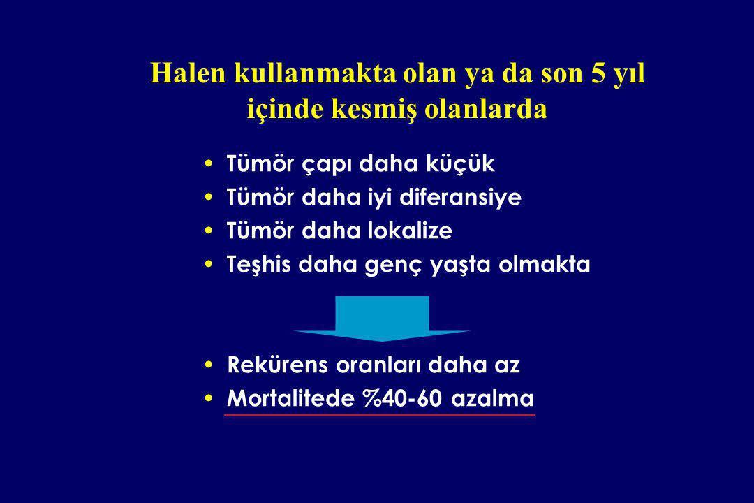 Tümör çapı daha küçük Tümör daha iyi diferansiye Tümör daha lokalize Teşhis daha genç yaşta olmakta Rekürens oranları daha az Mortalitede %40-60 azalm
