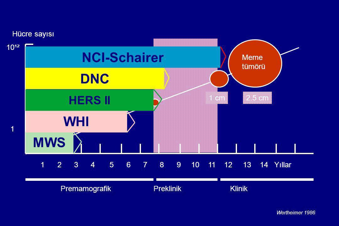 Meme tümörü Hücre sayısı 1 2 3 4 5 6 7 8 9 10 11 12 13 14 Yıllar 10¹² 1 Premamografik Preklinik Klinik 1 cm2.5 cm Wertheimer 1986 MWS WHI DNC HERS II