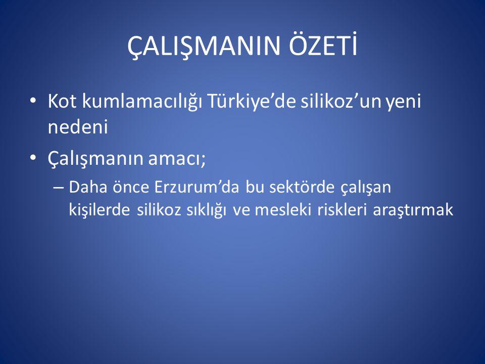 ÇALIŞMANIN ÖZETİ Kot kumlamacılığı Türkiye'de silikoz'un yeni nedeni Çalışmanın amacı; – Daha önce Erzurum'da bu sektörde çalışan kişilerde silikoz sıklığı ve mesleki riskleri araştırmak