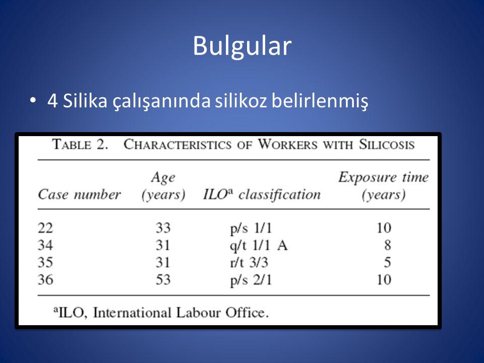 Bulgular 4 Silika çalışanında silikoz belirlenmiş