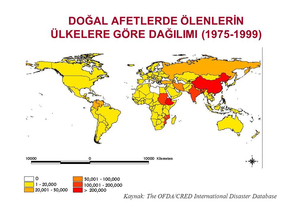 DOĞAL AFETLERİN ÜLKELERE GÖRE DAĞILIMI (1975-1999) Kaynak: The OFDA/CRED International Disaster Database