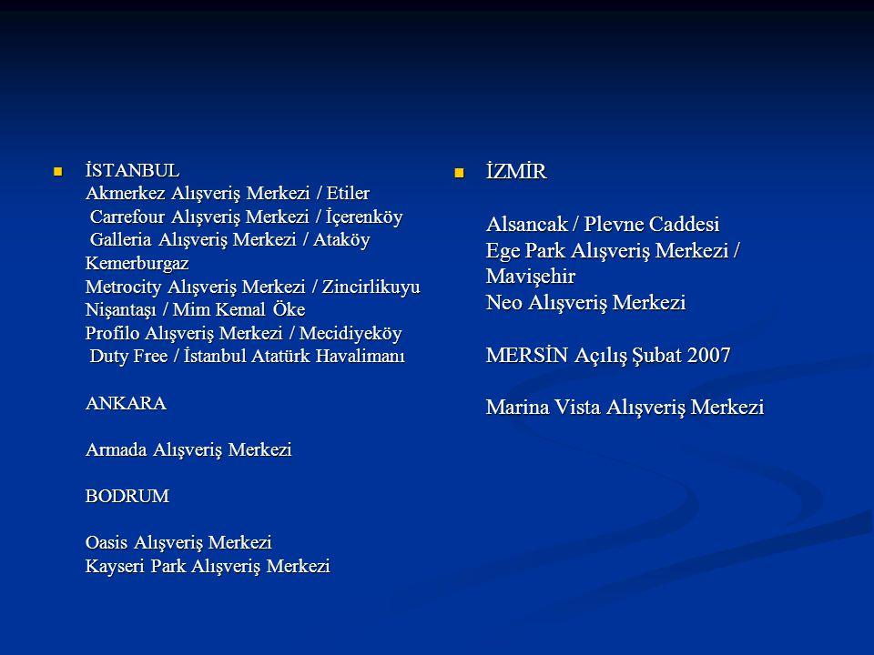 İSTANBUL Akmerkez Alışveriş Merkezi / Etiler Carrefour Alışveriş Merkezi / İçerenköy Galleria Alışveriş Merkezi / Ataköy Kemerburgaz Metrocity Alışveriş Merkezi / Zincirlikuyu Nişantaşı / Mim Kemal Öke Profilo Alışveriş Merkezi / Mecidiyeköy Duty Free / İstanbul Atatürk Havalimanı ANKARA Armada Alışveriş Merkezi BODRUM Oasis Alışveriş Merkezi Kayseri Park Alışveriş Merkezi İSTANBUL Akmerkez Alışveriş Merkezi / Etiler Carrefour Alışveriş Merkezi / İçerenköy Galleria Alışveriş Merkezi / Ataköy Kemerburgaz Metrocity Alışveriş Merkezi / Zincirlikuyu Nişantaşı / Mim Kemal Öke Profilo Alışveriş Merkezi / Mecidiyeköy Duty Free / İstanbul Atatürk Havalimanı ANKARA Armada Alışveriş Merkezi BODRUM Oasis Alışveriş Merkezi Kayseri Park Alışveriş Merkezi İZMİR Alsancak / Plevne Caddesi Ege Park Alışveriş Merkezi / Mavişehir Neo Alışveriş Merkezi MERSİN Açılış Şubat 2007 Marina Vista Alışveriş Merkezi