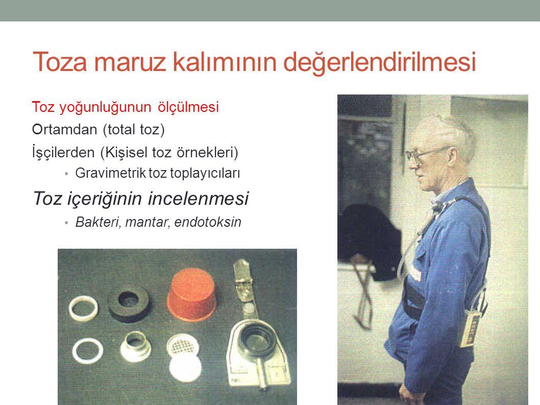 Toza maruz kalımının değerlendirilmesi Toz yoğunluğunun ölçülmesi Ortamdan (total toz) İşçilerden (Kişisel toz örnekleri) Gravimetrik toz toplayıcılar