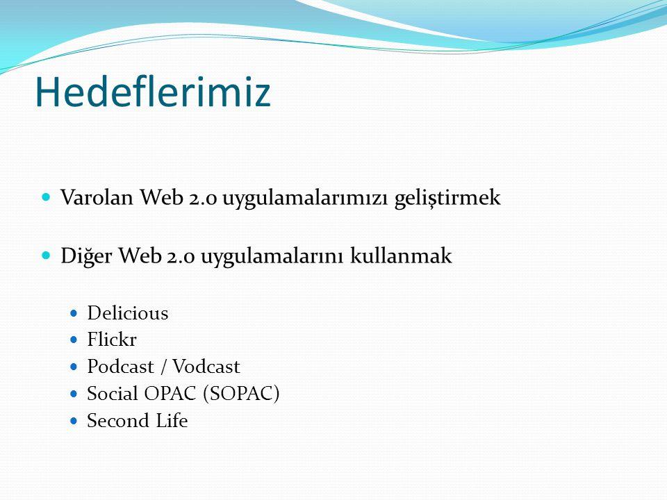 Hedeflerimiz Varolan Web 2.0 uygulamalarımızı geliştirmek Diğer Web 2.0 uygulamalarını kullanmak Delicious Flickr Podcast / Vodcast Social OPAC (SOPAC) Second Life