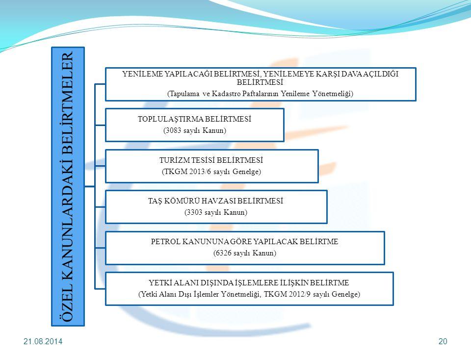 21.08.201420 ÖZEL KANUNLARDAKİ BELİRTMELER YENİLEME YAPILACAĞI BELİRTMESİ, YENİLEMEYE KARŞI DAVA AÇILDIĞI BELİRTMESİ (Tapulama ve Kadastro Paftalarını