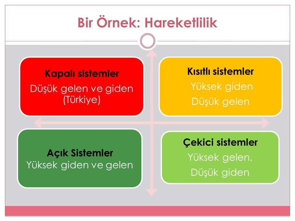 Bir Örnek: Hareketlilik Kapalı sistemler Düşük gelen ve giden (Türkiye) Kısıtlı sistemler Yüksek giden Düşük gelen Açık Sistemler Yüksek giden ve gelen Çekici sistemler Yüksek gelen, Düşük giden