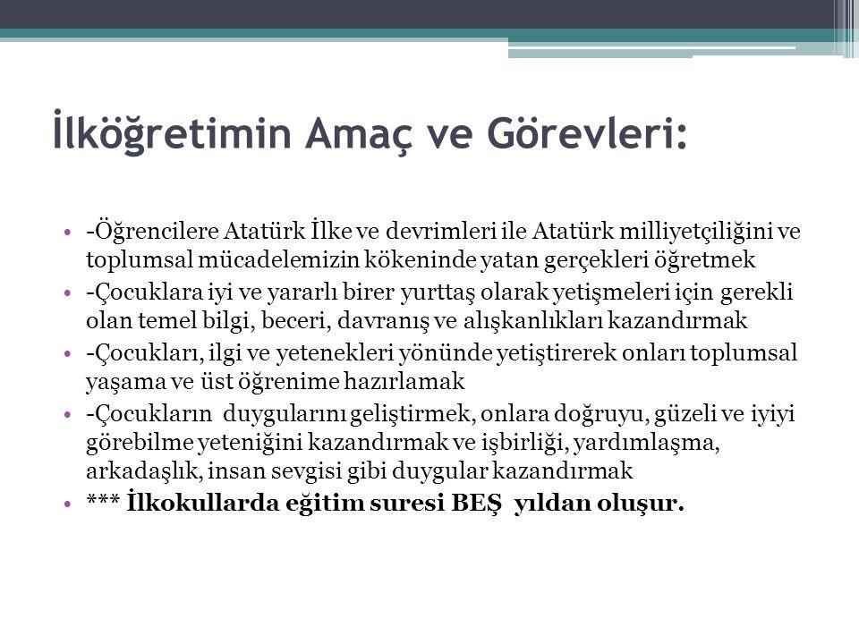 İlköğretimin Amaç ve Görevleri: -Öğrencilere Atatürk İlke ve devrimleri ile Atatürk milliyetçiliğini ve toplumsal mücadelemizin kökeninde yatan gerçek