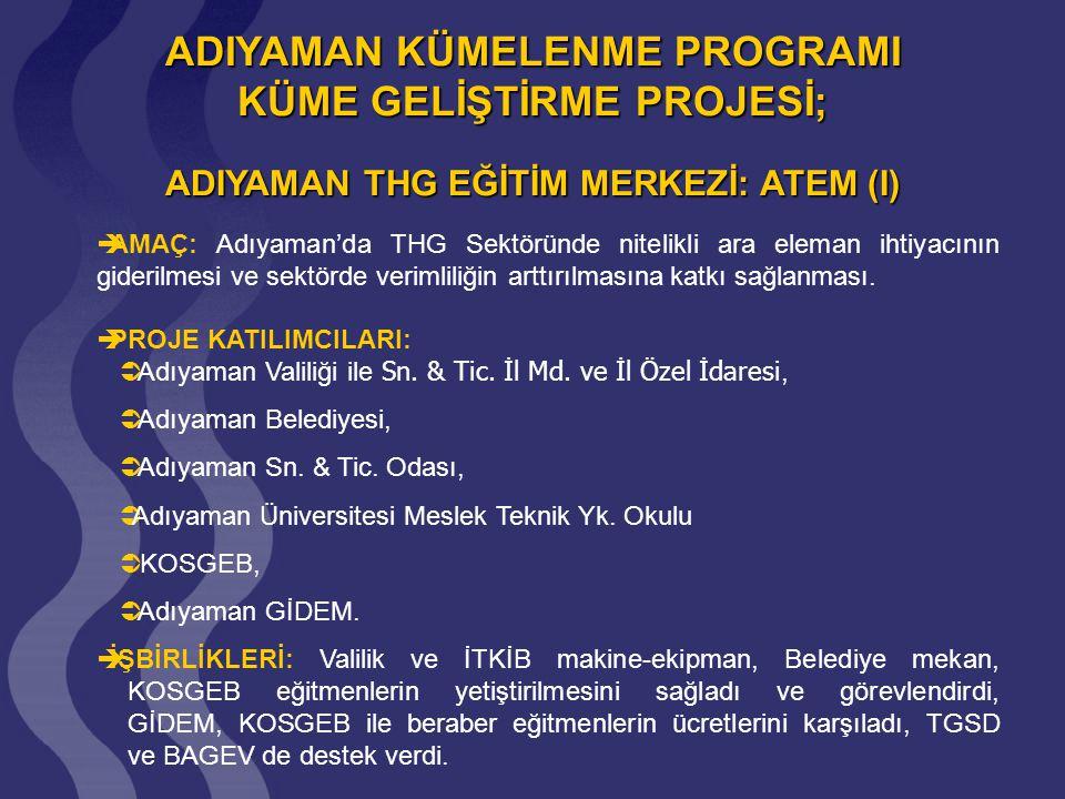 ADIYAMAN THG EĞİTİM MERKEZİ: ATEM (II)  ATEM; Aralık 2004'de hizmete girdi, eğitimler Mart 2005'de başlatıldı,  2005'de 400, 2006'da 210 öğrenci sertifikaya hak kazandı, eğitimler halen devam etmektedir,  Gelire Dayalı Ekonomik Etki Analizi ile Adıyaman iline tahmini yılda yaklaşık 1 Milyon €'luk tasarruf sağladığı tahmin edilmektedir.