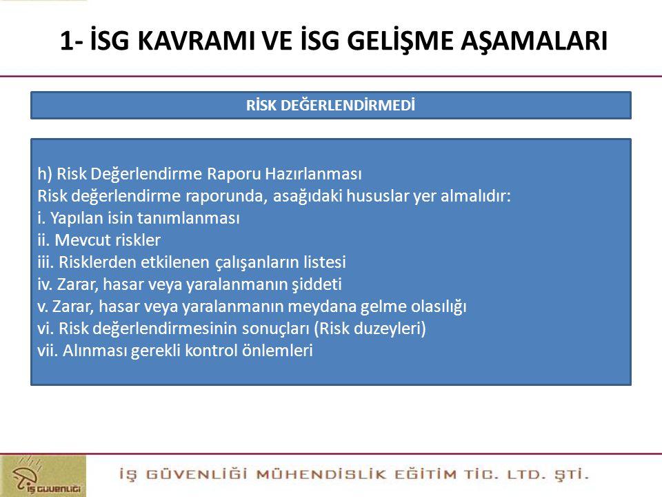 1- İSG KAVRAMI VE İSG GELİŞME AŞAMALARI h) Risk Değerlendirme Raporu Hazırlanması Risk değerlendirme raporunda, asağıdaki hususlar yer almalıdır: i. Y