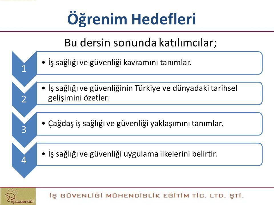 Öğrenim Hedefleri 1 İş sağlığı ve güvenliği kavramını tanımlar. 2 İş sağlığı ve güvenliğinin Türkiye ve dünyadaki tarihsel gelişimini özetler. 3 Çağda