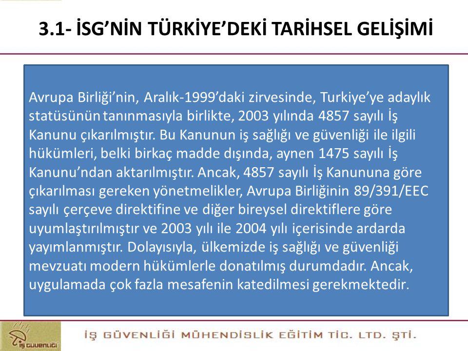 3.1- İSG'NİN TÜRKİYE'DEKİ TARİHSEL GELİŞİMİ Avrupa Birliği'nin, Aralık-1999'daki zirvesinde, Turkiye'ye adaylık statüsünün tanınmasıyla birlikte, 2003