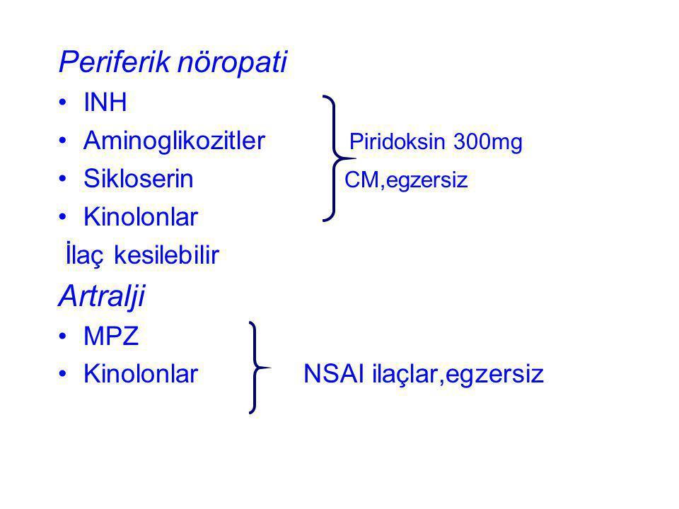 Periferik nöropati INH Aminoglikozitler Piridoksin 300mg Sikloserin CM,egzersiz Kinolonlar İlaç kesilebilir Artralji MPZ Kinolonlar NSAI ilaçlar,egzer