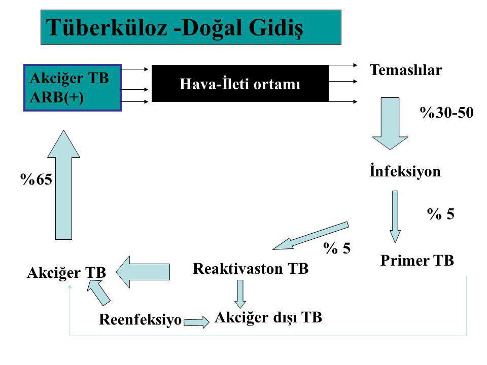 Akciğer TB ARB(+) Hava-İleti ortamı Temaslılar İnfeksiyon Primer TB Reaktivaston TB Akciğer TB %30-50 % 5 %65 Akciğer dışı TB Tüberküloz -Doğal Gidiş