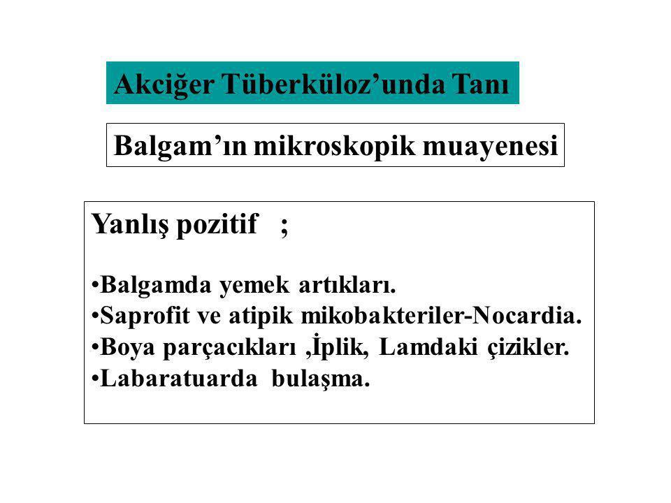 Akciğer Tüberküloz'unda Tanı Yanlış pozitif ; Balgamda yemek artıkları. Saprofit ve atipik mikobakteriler-Nocardia. Boya parçacıkları,İplik, Lamdaki ç