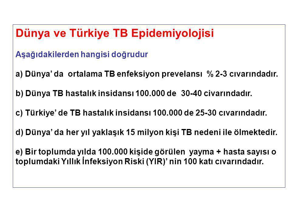 Dünya ve Türkiye TB Epidemiyolojisi Aşağıdakilerden hangisi doğrudur a) Dünya' da ortalama TB enfeksiyon prevelansı % 2-3 cıvarındadır.