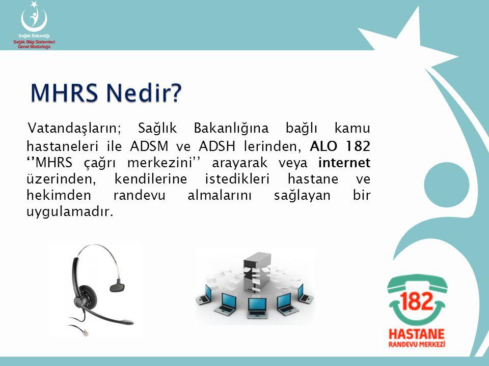 Vatandaşların; Sağlık Bakanlığına bağlı kamu hastaneleri ile ADSM ve ADSH lerinden, ALO 182 ''MHRS çağrı merkezini'' arayarak veya internet üzerinden, kendilerine istedikleri hastane ve hekimden randevu almalarını sağlayan bir uygulamadır.