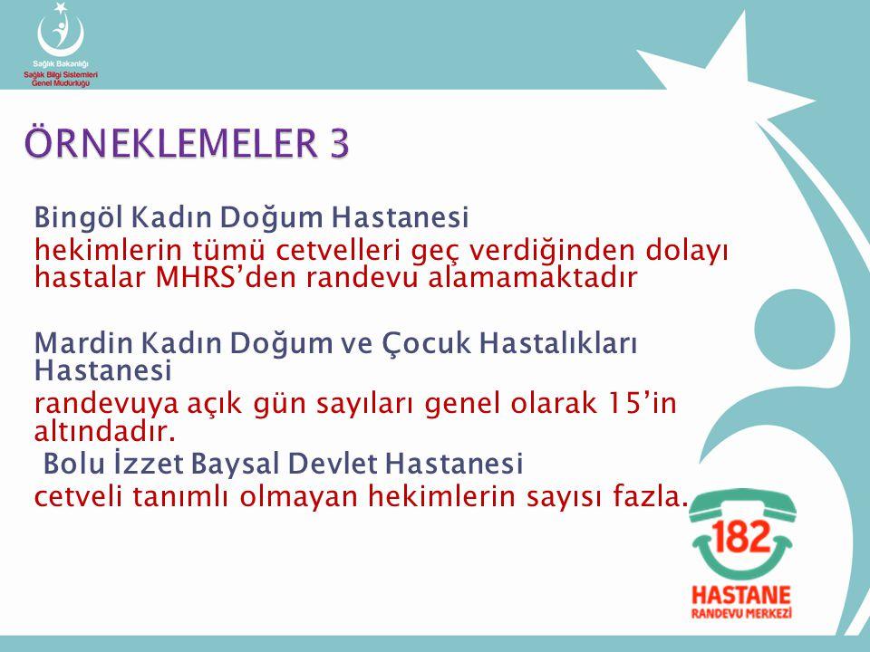 Bingöl Kadın Doğum Hastanesi hekimlerin tümü cetvelleri geç verdiğinden dolayı hastalar MHRS'den randevu alamamaktadır Mardin Kadın Doğum ve Çocuk Hastalıkları Hastanesi randevuya açık gün sayıları genel olarak 15'in altındadır.