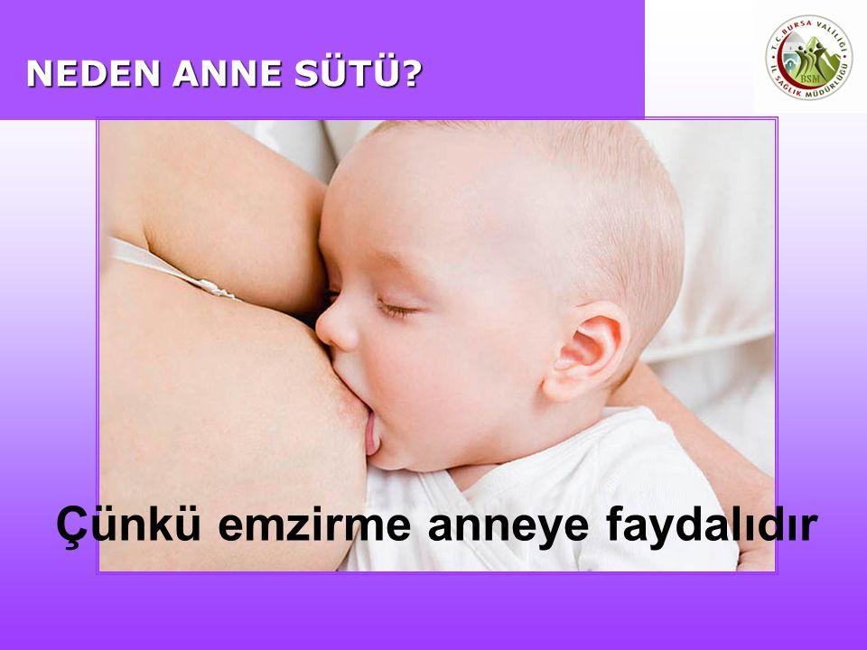 NEDEN ANNE SÜTÜ? Çünkü emzirme anneye faydalıdır