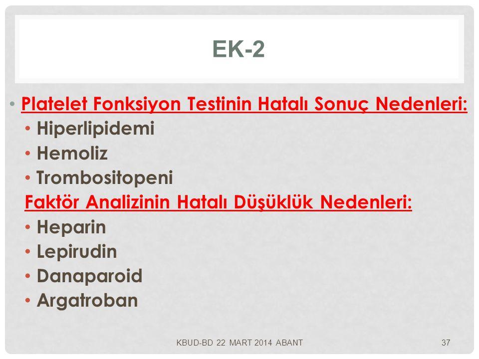 EK-2 Platelet Fonksiyon Testinin Hatalı Sonuç Nedenleri: Hiperlipidemi Hemoliz Trombositopeni Faktör Analizinin Hatalı Düşüklük Nedenleri: Heparin Lepirudin Danaparoid Argatroban KBUD-BD 22 MART 2014 ABANT37