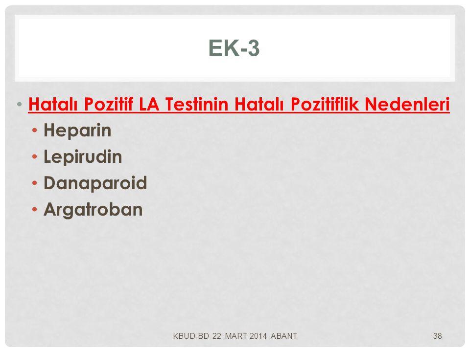 EK-3 Hatalı Pozitif LA Testinin Hatalı Pozitiflik Nedenleri Heparin Lepirudin Danaparoid Argatroban KBUD-BD 22 MART 2014 ABANT38