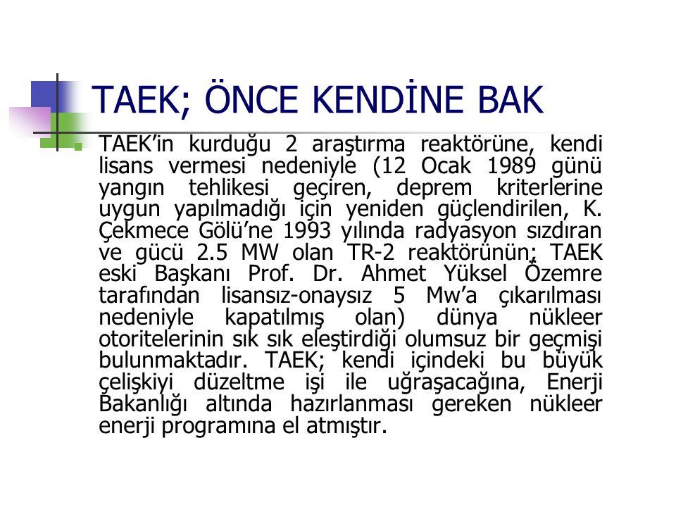 TAEK; ÖNCE KENDİNE BAK TAEK'in kurduğu 2 araştırma reaktörüne, kendi lisans vermesi nedeniyle (12 Ocak 1989 günü yangın tehlikesi geçiren, deprem krit