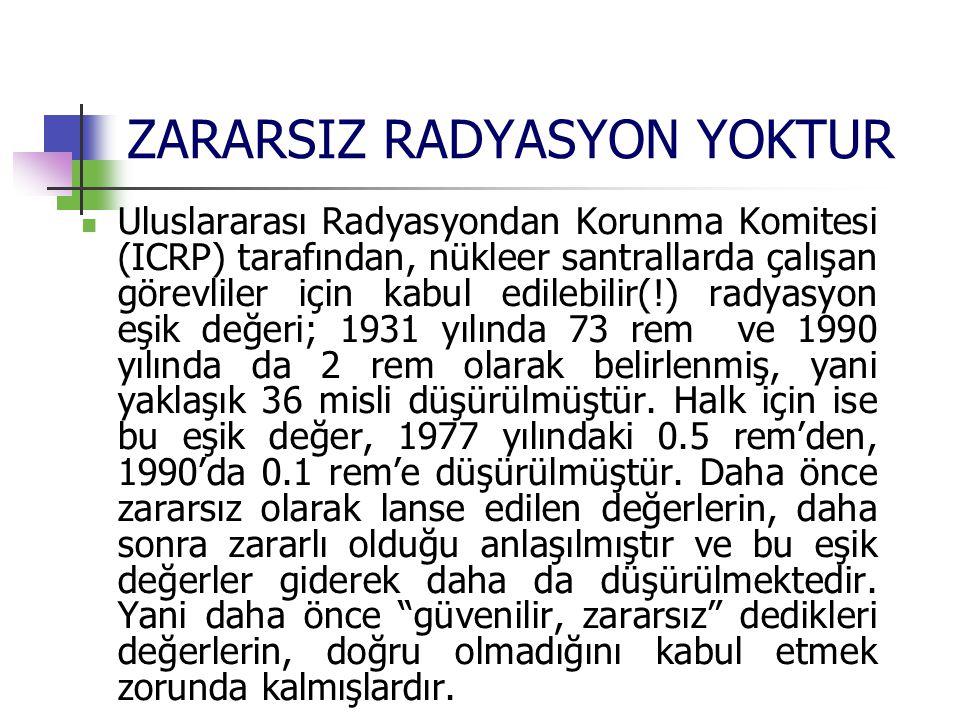 ZARARSIZ RADYASYON YOKTUR Uluslararası Radyasyondan Korunma Komitesi (ICRP) tarafından, nükleer santrallarda çalışan görevliler için kabul edilebilir(