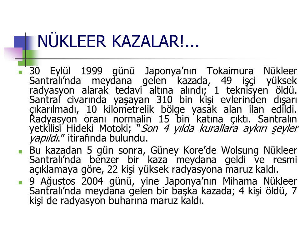 NÜKLEER KAZALAR!... 30 Eylül 1999 günü Japonya'nın Tokaimura Nükleer Santralı'nda meydana gelen kazada, 49 işçi yüksek radyasyon alarak tedavi altına