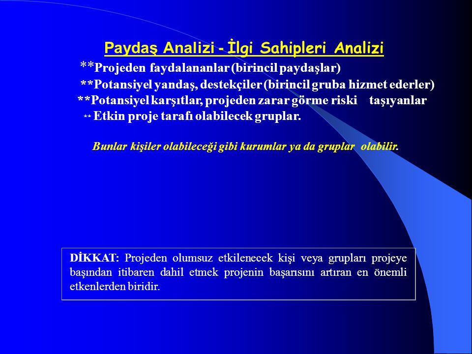 Paydaş Analizi - İlgi Sahipleri Analizi ** Projeden faydalananlar (birincil paydaşlar) **Potansiyel yandaş, destekçiler (birincil gruba hizmet ederler