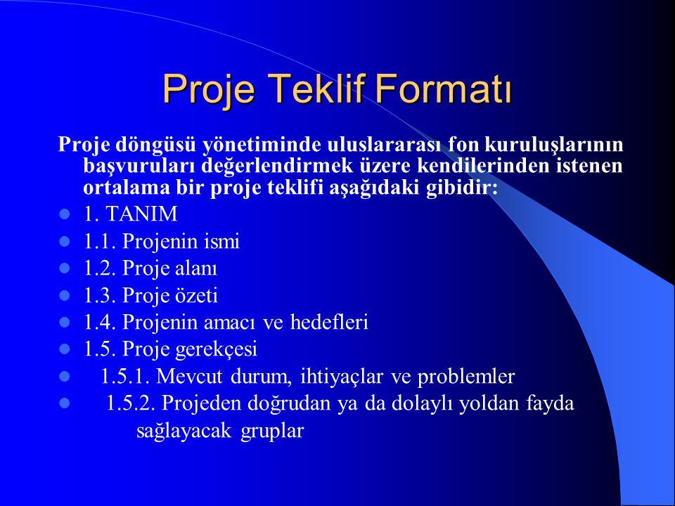 Proje Teklif Formatı Proje döngüsü yönetiminde uluslararası fon kuruluşlarının başvuruları değerlendirmek üzere kendilerinden istenen ortalama bir pro