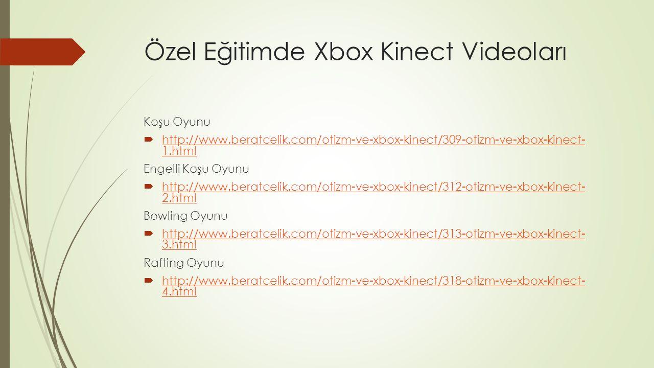 Özel Eğitimde Xbox Kinect Videoları (2) Futbol Oyunu  http://www.beratcelik.com/otizm-ve-xbox-kinect/319-otizm-ve-xbox-kinect- 5.html http://www.beratcelik.com/otizm-ve-xbox-kinect/319-otizm-ve-xbox-kinect- 5.html Tenis Oyunu  http://www.beratcelik.com/otizm-ve-xbox-kinect/342-otizm-ve-xbox-kinect- 6.html http://www.beratcelik.com/otizm-ve-xbox-kinect/342-otizm-ve-xbox-kinect- 6.html Masa Tenisi  http://www.beratcelik.com/otizm-ve-xbox-kinect/464-otizm-ve-xbox-kinect- 7.html http://www.beratcelik.com/otizm-ve-xbox-kinect/464-otizm-ve-xbox-kinect- 7.html