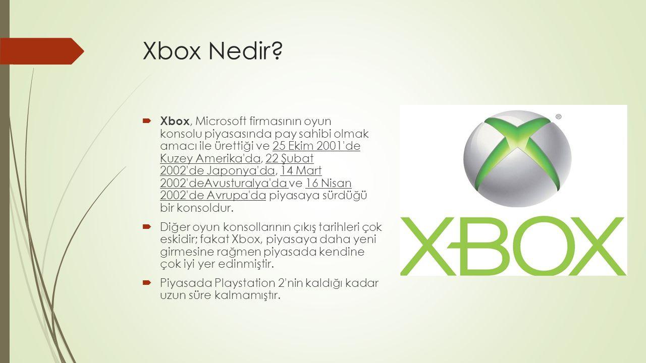 Xbox Nedir?  Xbox, Microsoft firmasının oyun konsolu piyasasında pay sahibi olmak amacı ile ürettiği ve 25 Ekim 2001'de Kuzey Amerika'da, 22 Şubat 20
