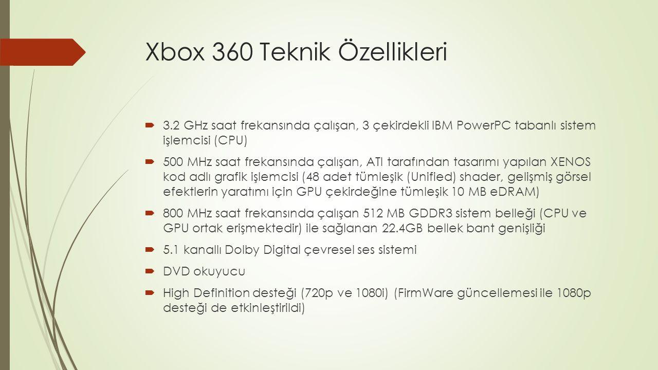 Xbox 360 Teknik Özellikleri (2)  3 adet USB 2.0 kapısı (S modelinde 5 adet)  4 kablosuz gamepad desteği  Eski Modellerde Wi-fi kablosuz ağ bağlantısı desteği (aparat ile)  S Modelinde 802.11N kablosuz ağ bağlantısı desteği  Elite modelinde 120 GB sabit disk (Core ve Arcade pakette sabit disk yoktur)  S modelinde 250 GB sabit disk (120 gb versiyonu ilerki tarihlerde satılmaya başlanacak)