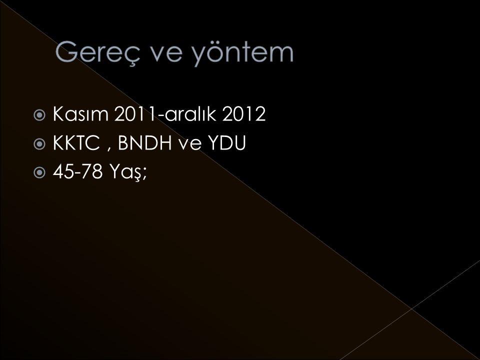  Kasım 2011-aralık 2012  KKTC, BNDH ve YDU  45-78 Yaş;