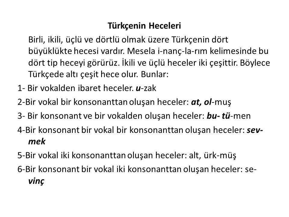 Türkçenin Heceleri Birli, ikili, üçlü ve dörtlü olmak üzere Türkçenin dört büyüklükte hecesi vardır. Mesela i-nanç-la-rım kelimesinde bu dört tip hece