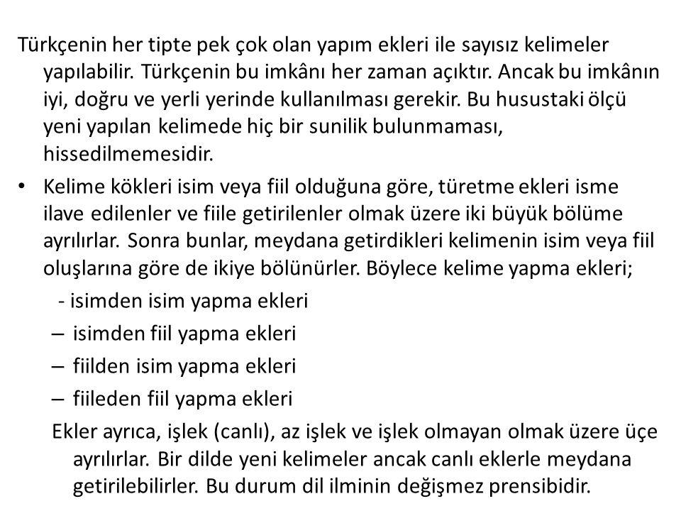 Türkçenin her tipte pek çok olan yapım ekleri ile sayısız kelimeler yapılabilir. Türkçenin bu imkânı her zaman açıktır. Ancak bu imkânın iyi, doğru ve