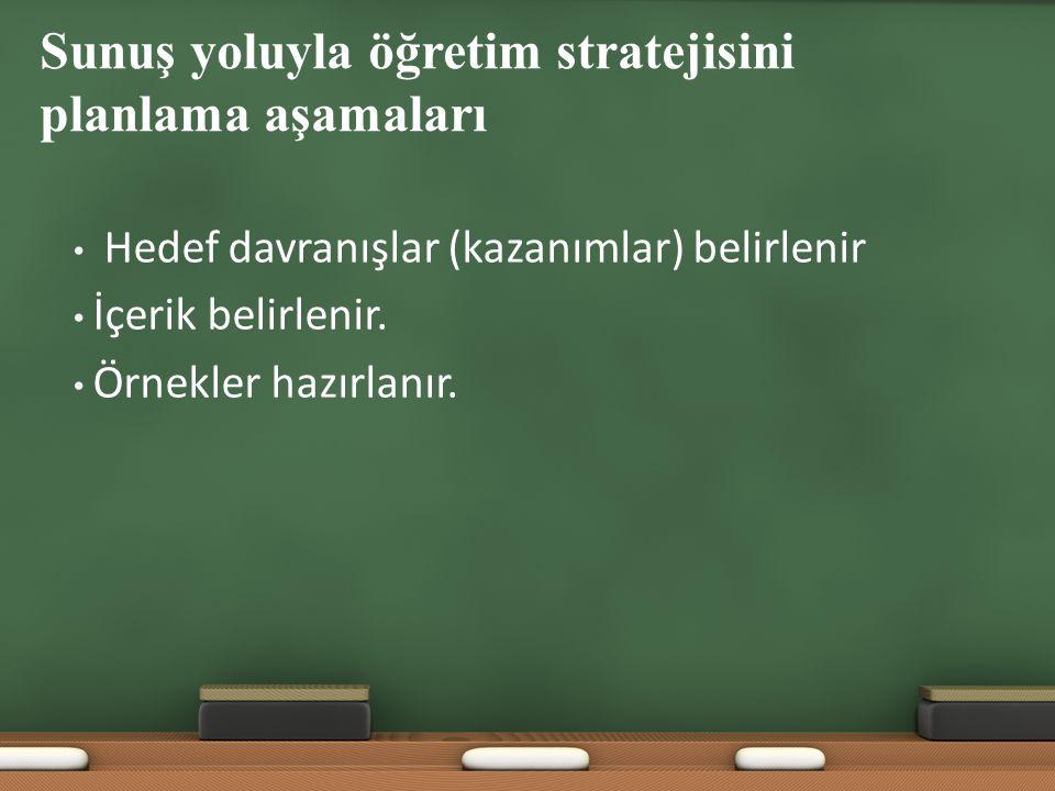 Sunuş yoluyla öğretim stratejisini planlama aşamaları Hedef davranışlar (kazanımlar) belirlenir İçerik belirlenir. Örnekler hazırlanır.