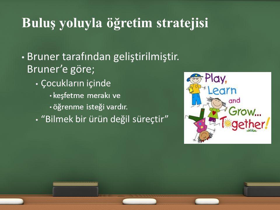 """Buluş yoluyla öğretim stratejisi Bruner tarafından geliştirilmiştir. Bruner'e göre; Çocukların içinde keşfetme merakı ve öğrenme isteği vardır. """"Bilme"""