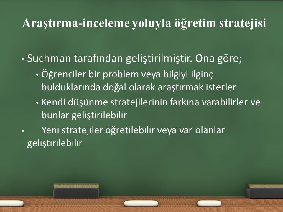 Araştırma-inceleme yoluyla öğretim stratejisi Suchman tarafından geliştirilmiştir. Ona göre; Öğrenciler bir problem veya bilgiyi ilginç bulduklarında