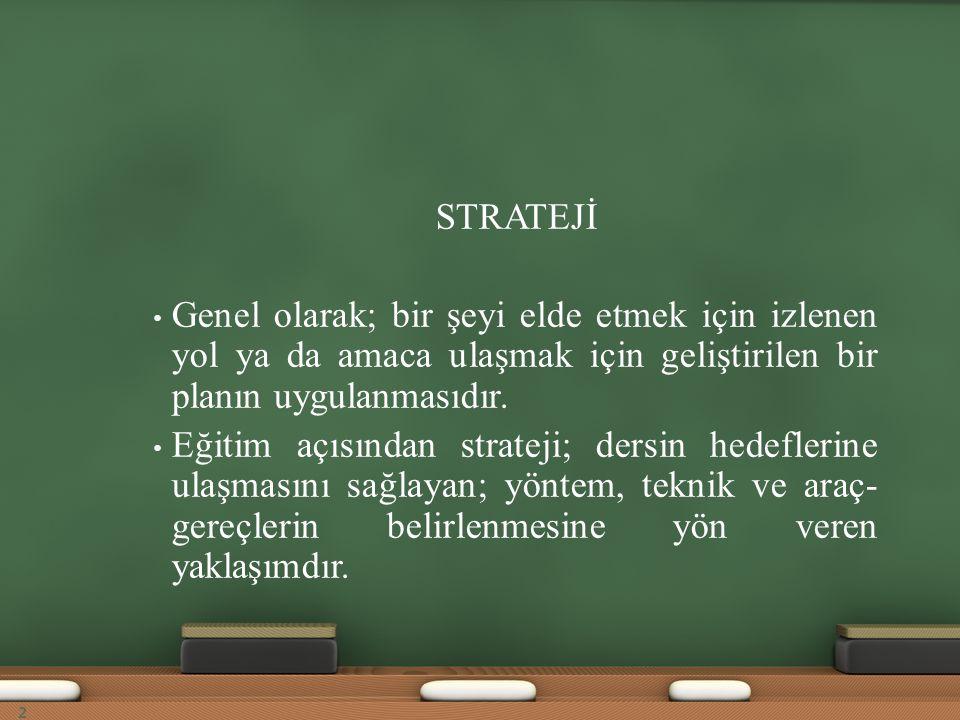 Hangi durumlarda Sunuş Yoluyla Öğretim Stratejisini Kullanalım.