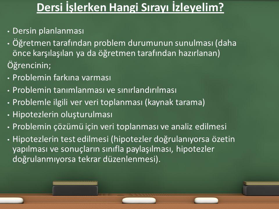 Dersi İşlerken Hangi Sırayı İzleyelim? Dersin planlanması Öğretmen tarafından problem durumunun sunulması (daha önce karşılaşılan ya da öğretmen taraf