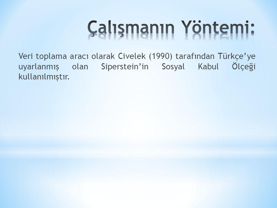 Veri toplama aracı olarak Civelek (1990) tarafından Türkçe'ye uyarlanmış olan Siperstein'in Sosyal Kabul Ölçeği kullanılmıştır.