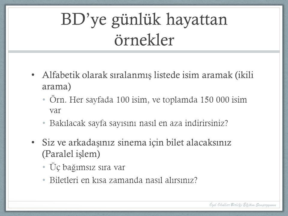 BD'ye günlük hayattan örnekler Alfabetik olarak sıralanmı ş listede isim aramak (ikili arama) Örn.