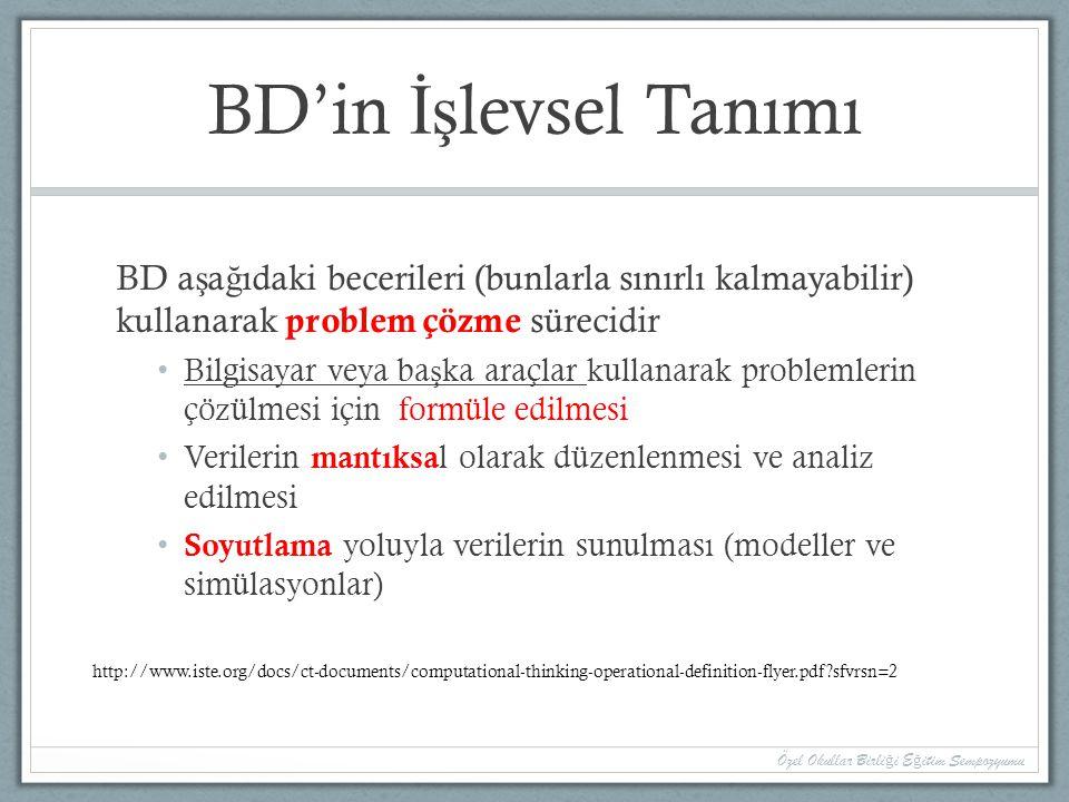 BD'in İş levsel Tanımı BD a ş a ğ ıdaki becerileri (bunlarla sınırlı kalmayabilir) kullanarak problem çözme sürecidir Bilgisayar veya ba ş ka araçlar kullanarak problemlerin çözülmesi için formüle edilmesi Verilerin mantıksa l olarak düzenlenmesi ve analiz edilmesi Soyutlama yoluyla verilerin sunulması (modeller ve simülasyonlar) Özel Okullar Birli ğ i E ğ itim Sempozyumu http://www.iste.org/docs/ct-documents/computational-thinking-operational-definition-flyer.pdf?sfvrsn=2