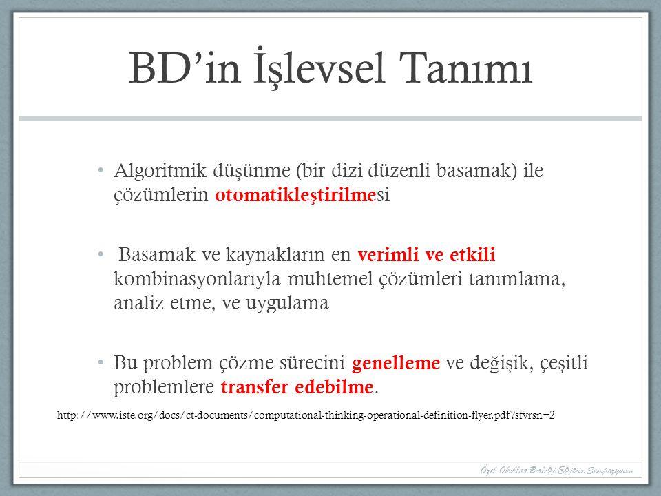 BD'in İş levsel Tanımı Algoritmik dü ş ünme (bir dizi düzenli basamak) ile çözümlerin otomatikle ş tirilme si Basamak ve kaynakların en verimli ve etk