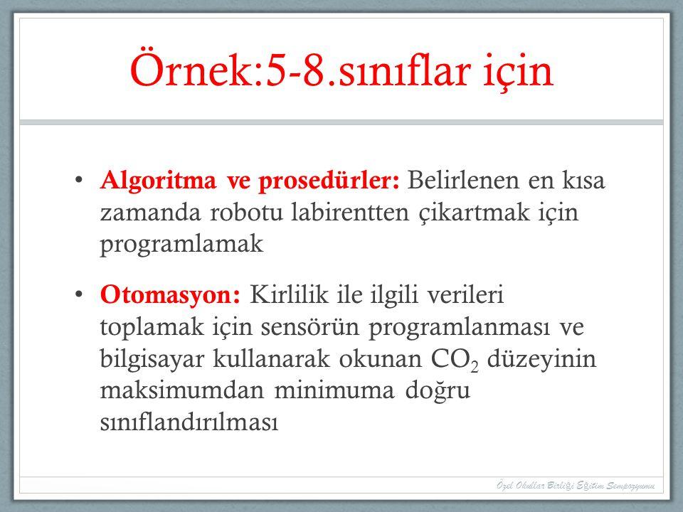Örnek:5-8.sınıflar için Algoritma ve prosedürler: Belirlenen en kısa zamanda robotu labirentten çikartmak için programlamak Otomasyon: Kirlilik ile il