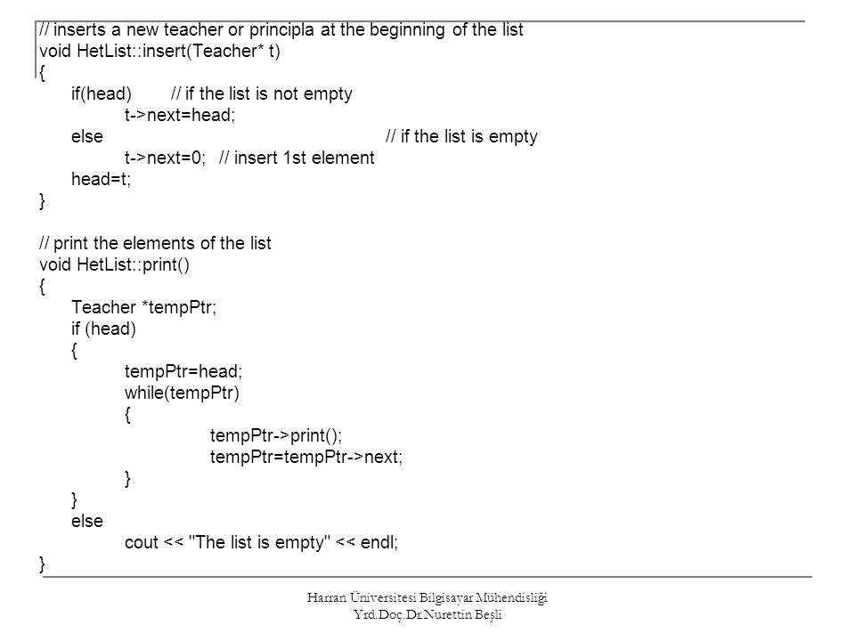 Harran Üniversitesi Bilgisayar Mühendisliği Yrd.Doç.Dr.Nurettin Beşli // inserts a new teacher or principla at the beginning of the list void HetList: